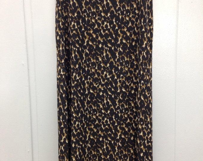 90's Halston Leopard pattern floor length skirt.
