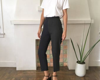 HANDMADE Deconstructed Vintage Navy and Charcoal Two Tone Cropped Trousers