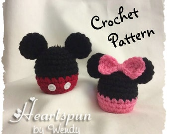CROCHET PATTERN to make a Mickey Mouse and Minnie Mouse EOS Lip Balm Holder, Pdf Format, Instant Download.