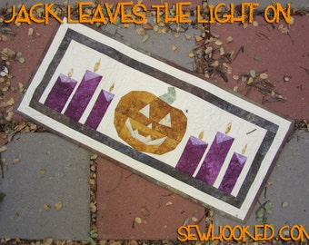 Jack Leaves the Light On, PDF Quilt Pattern for table runner, wall hanging or blocks