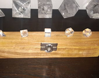 Lunar SALE-Sacred Geometry 5 Piece Platonic Solids - Clear Quartz in Wooden Box