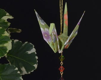Origami Crane Suncatcher - light green Japanese paper with flowers, peace crane, hand varnished, with brilliant Swarovski crystals