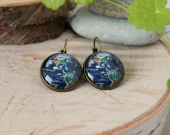 Earth Earrings | Antique Bronze Dangle and Drop Earrings | Glass Dome Earth Earrings | Space Jewelry | Handmade Jewelry