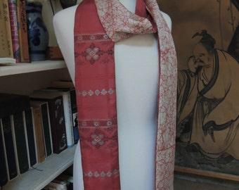 Japanese kimono long reversable scarf