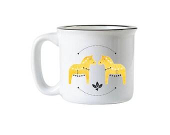 Yellow Dala Horse Campfire Mug