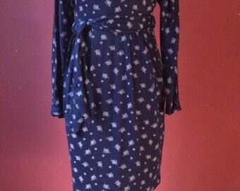 1980s navy/white Ditsy Print Dress