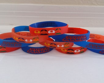 SUPER MARIO Inspired bracelets kids birthday party favors - Glow in the Dark (10 pack)