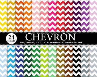24 Chevron Digital Scrapbook Paper, digital paper patterns for card making, invitations, scrapbooking