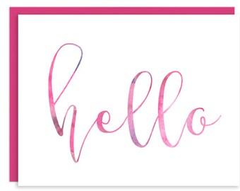 Hello (pink/purple) Folded Card
