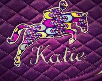 Applique hunter/jumper monogram Saddle Pad personalized *Many Fabric Choices*