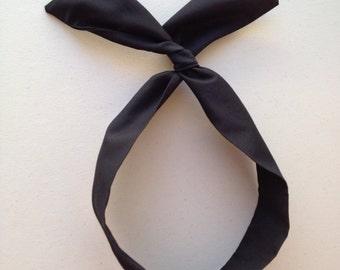 Black Dolly Bow, Black Wire Headband, Usamimi Rabbit Ears, Twist Headband