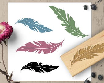 Feather Stamp, Bird Stamp, Feather Rubber Stamp, Scrapbook Stamp, Stationary Stamp, DIY Gift Wrap Stamp 082