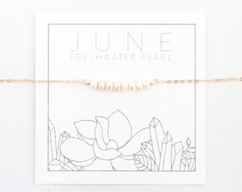 Pearl Necklace - June Birthstone Necklace - Bead Bar - Gift for Her - Mothers Necklace - Birthday Present - Freshwater Pearl Necklace White