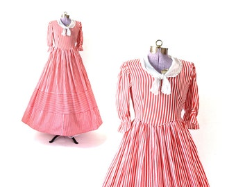 1930s Dress 30s Dress Red Dress Stripe Dress Carnival Costume Cotton Dress Small Dress Women  Clothing Dress Vintage Dress