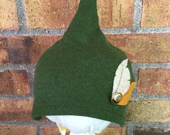 Gnome Hat/ Peter Pan Hat 0-3 Month Repurposed Wool Green with Button and Two Felt Feathers