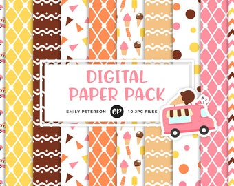 50% OFF SALE! Ice Cream Truck Digital Paper, Ice Cream Cone Background Paper - Commercial Use, Instant Download