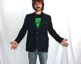 Vintage Polyester Mens Blazer Suit Jacket. JC Penney 70s Mens Blazer. Navy Blue Preppy Hipster Mens Sport Coat Blazer