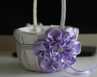 Lavender Flower Girl Basket \ Violet Wedding Baskets, Violet Ring Pillow, Light Purple Basket, Lilac Wedding Basket Pillow Set, Lilac Bearer
