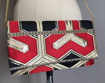 Kimono clutch purse handmade from vintage kimono obi silk + Japanese wooden box