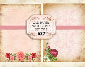Old paper Vintage with roses Shabby chic paper Scrapbook Decoupage 5x7 inch (376)