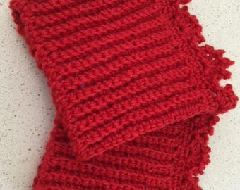 Cute crocheted Boot cuff/toppers in red colour.