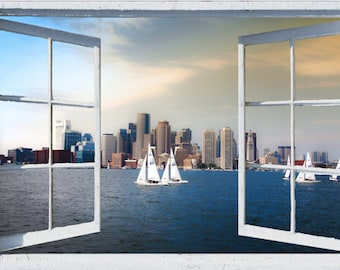 Wall Mural Window, Self Adhesive, Open Window View 3 Sizes Available Sailing