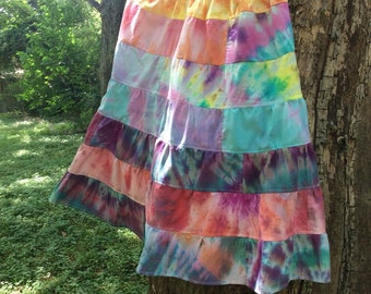 Handmade Tyedyed 100% Cotton Tiered Skirt