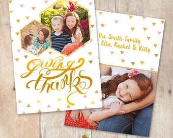 INSTANT DOWNLOAD 5x7 ThanksGiving Card Photoshop Template - CA603