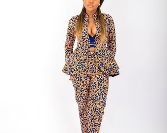 READY TO SHIP!!! Shara NuVu Jacket with Peplum and Pants, clothing, Summer,pant suit, African Print