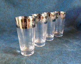 Vintage Mid Century Modern Silver Band Highball Glasses, Etched Thistle, Set of 4