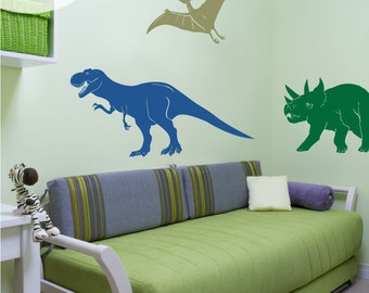 Medium Dinosaur Set - T-Rex, Pterodactyl, Triceratops - Vinyl Wall Decals
