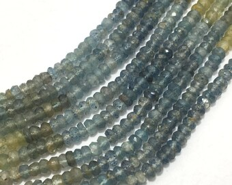 Natural Moss Aquamarine Micro Faceted Rondelle Beads, 3.5mm to 4mm, 13 inches, Blue-Green Beads, Gemstone Beads, Semiprecious Stone Beads