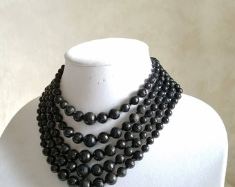 Vintage Black Beaded Necklace with Fancy Beaded Box Clasp, Black Vintage Multi Strand Necklace, Mid Century Necklace Made in Western Germany
