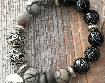 Courage charm stone beaded bracelet