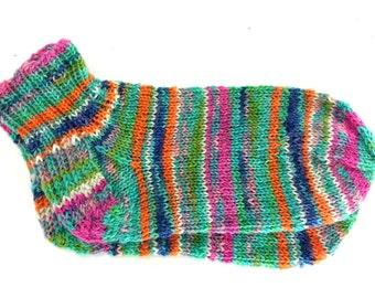 Knit Socks Ankle Crew Cut Anklet Rainbow Socks Pink Orange Teal Blue Children's Large Adult Small