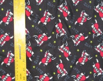 Tattoo Hearts & Love Flannel Fabric 1 yard + 25 inches RARE VHTF