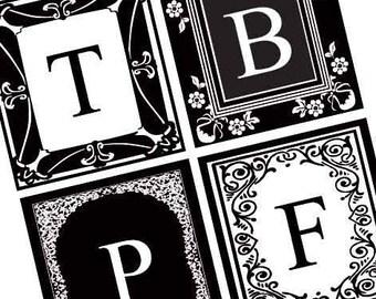 Black and White Vintage Alphabet - Scrabble Size Printable Squares - Buy 2 Get 1 Free - Instant Download - .75x.83 Inch - Digital File