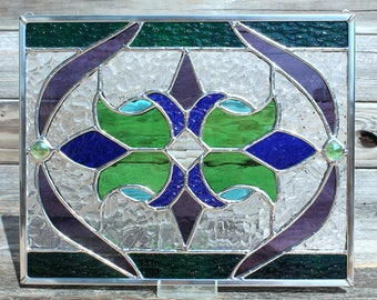 Green, Purple, Cobalt Blue and Sky Blue Stained Glass Panel