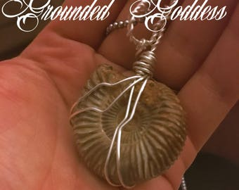 Grounding Goddess Ammonite Fossil Pendant