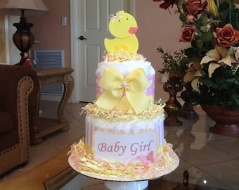 Girl rubber ducky diaper cake Pink and yellow. /Rubber ducky baby shower centerpiece/gift