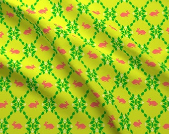 Bunnies And Florals Fabric - Modern Whimsy Bunnies Citron Rose By Lauriewisbrun - Floral Rabbits Cotton Fabric By The Yard With Spoonflower