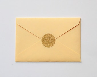 Gold Glitter Envelope Seals - Gold Glitter Stickers - Round Gold Glitter Stickers - Glitter Envelope Seals - Round Gold Stickers