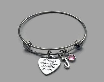 Crown Charm Bracelet, Crown Bracelet, Always Wear Your Invisible Crown, Birthstone Charm Bracelet, Initial Charm, Personalized Bracelet