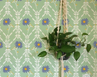 Flower Trellis Wallpaper Wall Stencil - Bonnie Christine Designer Wall Pattern for DIY Painting