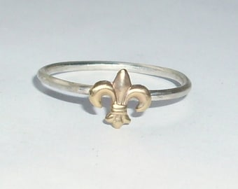 Little Fleur De Lis- Sterling Silver and Brass -Stacking Ring