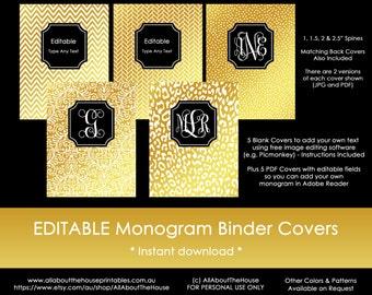 binder cover gold and black monogram spine chevron polka dot cheetah leopard damask editable diy notebook stationery preppy school college