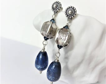 INDIA INK Earrings, Indigo Blue and Silver Lampwork Glass, Hill Tribe Fine Silver, Bali Sterling Earrings