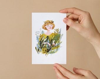 Piano girl. Postcard