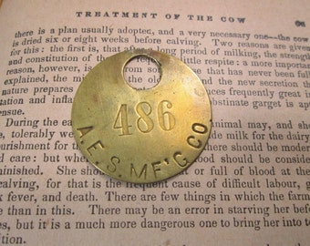 Vintage Brass Cattle Tag, Number 486, Round Cow Key