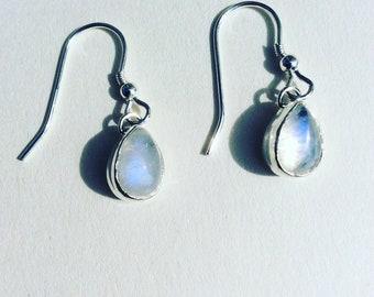 Blue Moon - Moonstone Teardrop Sterling Silver Earrings